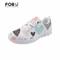 FORUDESIGNS Women's Flats Shoes for Girls Hearts Geometrical Love Valentine Pattern Summer Mesh Shoes Women Sneakers Lightweight