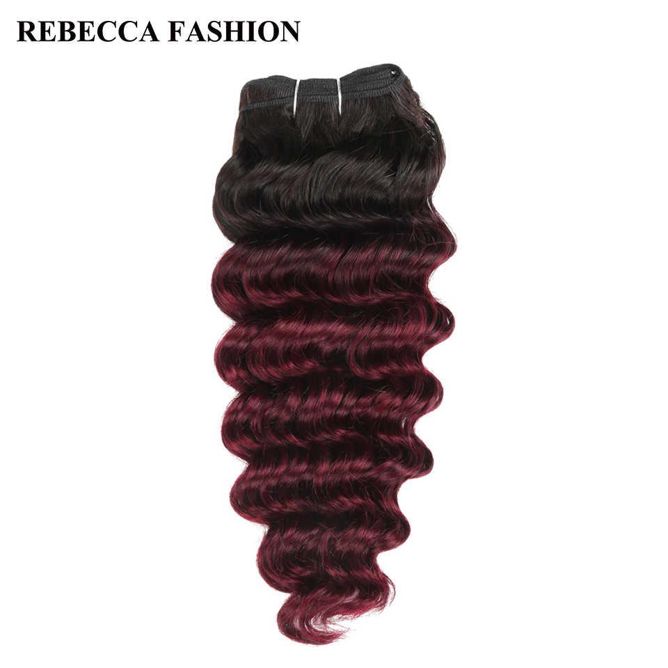 Rebeca Remy cabello humano brasileño onda profunda tejido 1 paquete precoloreado Ombre vino rojo T1b/99j extensión de pelo de salón 100g