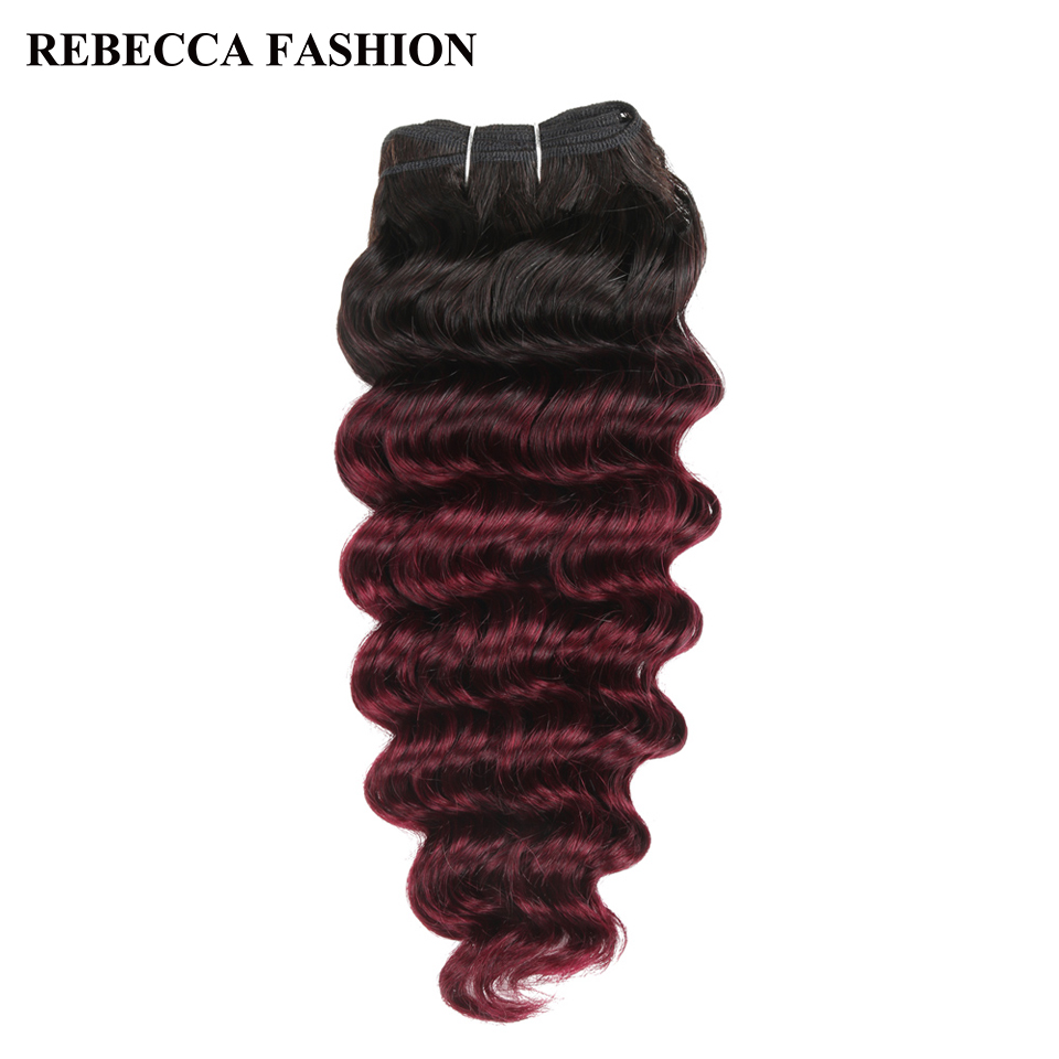 Rebecca Remy Human Hair Brazilian Deep Wave Hair Weave 1 Bundle Pre-Colored Ombre Wine Red T1b/99j Salon Hair Extension 100g