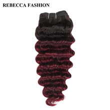 Rebecca Remy Human Hair Brazilian Deep Wave Hair Weave 1 Bundle Pre-Colored Ombre Wine Red T1b/99j Salon Hair Extension 100g(China)