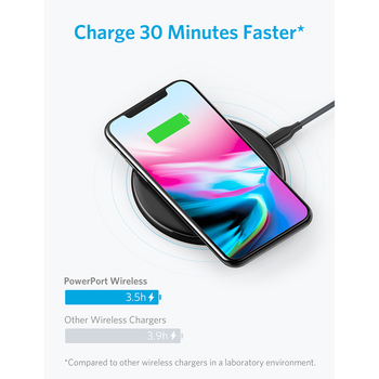 Anker Qi-Certified Ultra-Slim Wireless Charger Compatible iPhone Xs Max/XS/XR/X/8/8 Plus, Galaxy S9/S9+/S8/S8+/Note 8 and More 1
