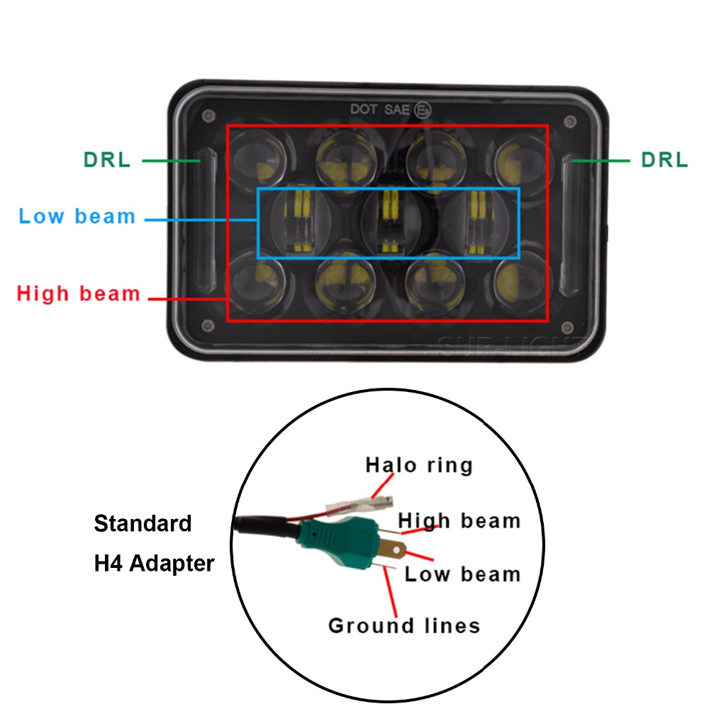 H4 Headlight Wiring Diagram 4651 Peterbilt High Beam 4x6 Inch 60w 4d Led Bulb With Drl For H4656 Kenworth Plug