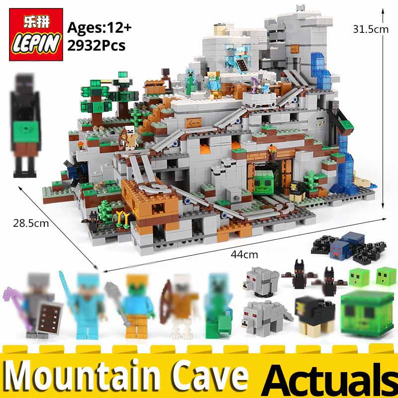 Lepin MINECRAFTED 18032 The Mountain Cave Compatible legoinglys My worlds 21137 stacking block model building kit Blocks Bricks lepin 18032 minecrafted figures the mountain cave model building kits blocks bricks toys for children compatible legoing 21137