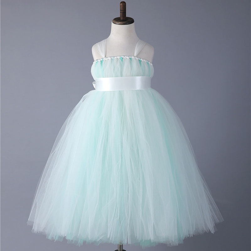 Girls Princess Wedding Dresses With Ribbons Straps Ankle Length Cute Baby Girls Tutu Birthday Party Dress Costumes For Prom children clothing sling solid dresses for girls tutu princess dress with flowers girls costumes party dresses handmade custom
