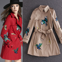 Women Embroidery Top Quality Birds Spring Jacket Women Basic Middle Long Adjustable Waist Double Waist