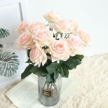 10pcs Latex Artificial Flowers Rose Flower Branch Fake leaves Real Touch For Wedding Home Party Decoration 7 Colors