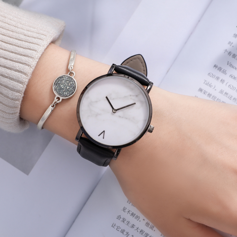 TIBOAT Brand Creative Leather Band Marble Quartz Watch Casual Women Stainless Steel Wristwatches Relogio Feminino Drop Shipping in Women 39 s Watches from Watches