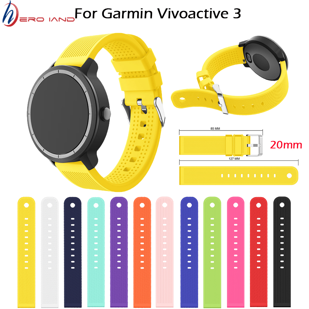 Soft Silicone Replacement Strap For Garmin Vivoactive3 3 Vivomove HR Smart Wristband For Forerunner 645 Music Stripe Wrist Strap