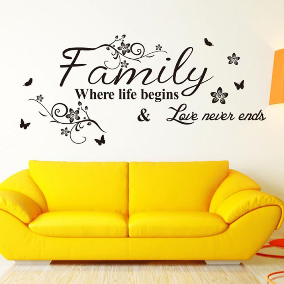 ISHOWTIENDA New Where Life Begins Love Never Ends Letter Pattern Wall Sticker PVC Removable Home Decor DIY Wall Art Decals MURAL
