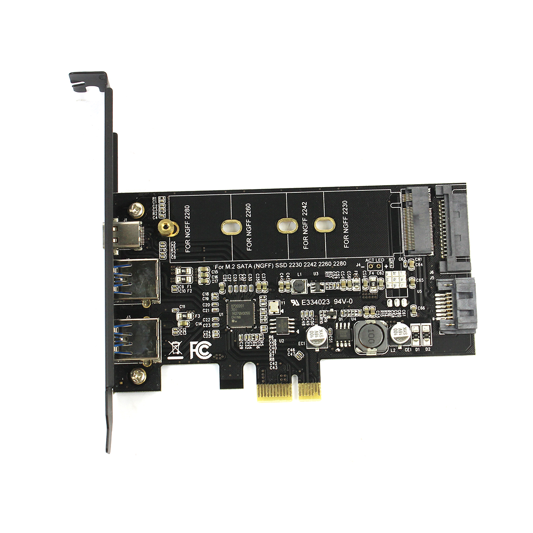 M2 SATA B Key To PCI-e 3.0 Controller Converter Riser Card 2x USB3.0 & Type-c M.2 PCIe Adapter For 2280 2260 2242 2230 NGFF