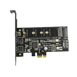 Image 2 - 듀얼 USB3.0 1 포트 유형 c M.2 PCIe 어댑터 M2 SSD SATA B 키 PCI e 3.0 컨트롤러 변환기 카드 NGFF 2280 2260 2242 2230