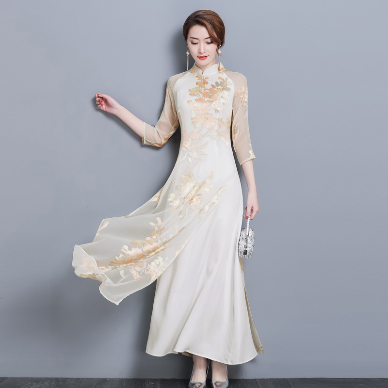 2019 printemps été robe femmes mode imprimer élégant col montant 3/4 manches Slim Robes de soirée Vestidos Robes grande taille