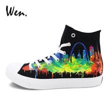 Wen Original Design Saint Louis City Skyline Black Canvas Sneakers Sport Hand Painted Shoes for Men Women Footwear