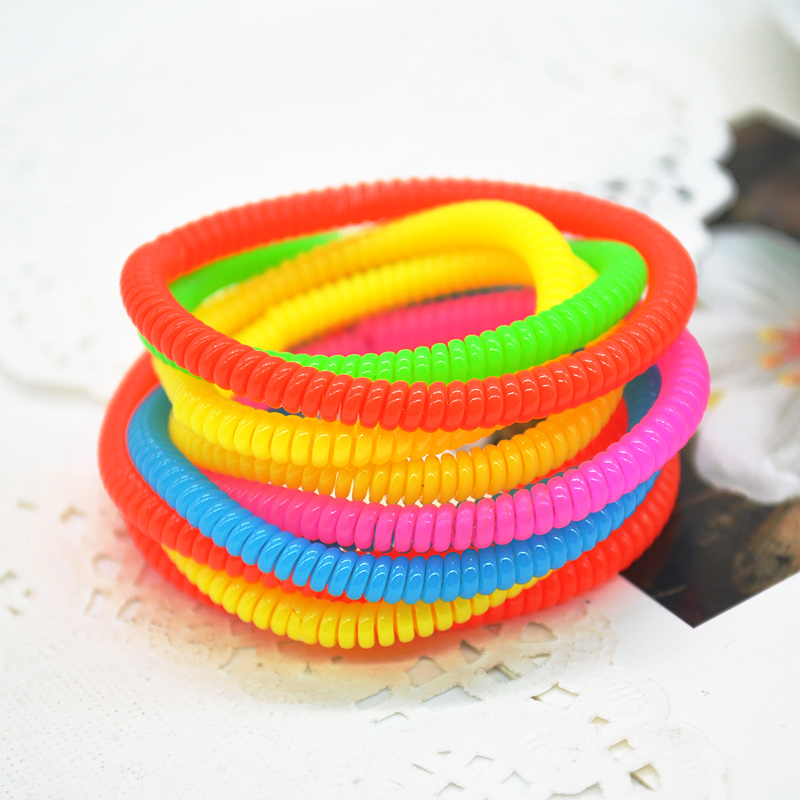 10pcs/lot Telephone Wire Line Cord Traceless Hair Ring Gum Colored Elastic Hair Bands