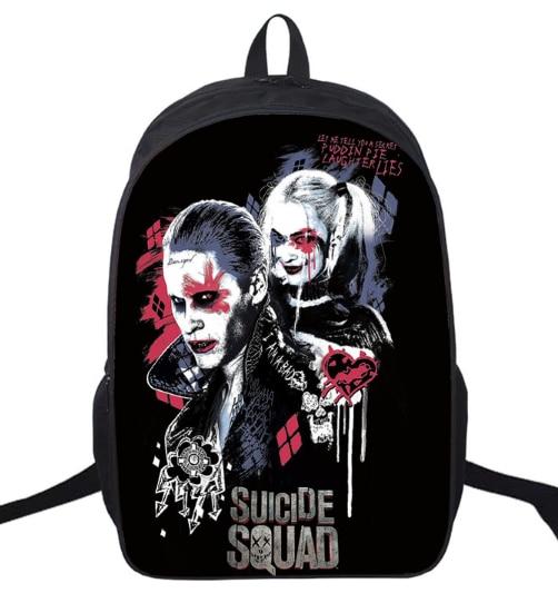 16 Inch Suicide Squad Backpack For Teenager Children Harley Quinn Joker School Bags Shoulder Bag Boys Girls School Backpacks