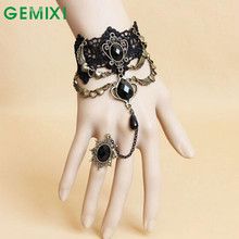 Starring-styling 2017 Charming Black Lace Bracelet With One Chain Trendy Party Jewelry m8