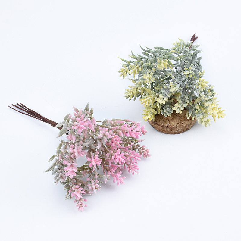 6pcs/bundle Artificial Tree Plastic Grass Christmas Scrapbook Flowers For Home Decor Wedding Party Fake Plants Gifts Diy Wreath