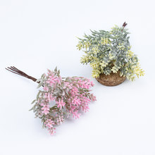 6pcs/bundle Artificial tree plastic grass christmas scrapbook flowers for home decor wedding party Fake plants gifts diy wreath(China)