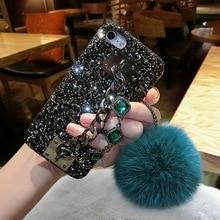 Мода телефона чехол для iPhone 5S SE 6 6 S 6 Plus 6splus 7 7 плюс роскошный со стразами Сеть Fox Мех мяч блеск задняя крышка