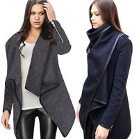 Daily Outdoor Cotton Blend Material Women Lady Slim Winter Warm Trench Coat Long Wool Jacket Outwear