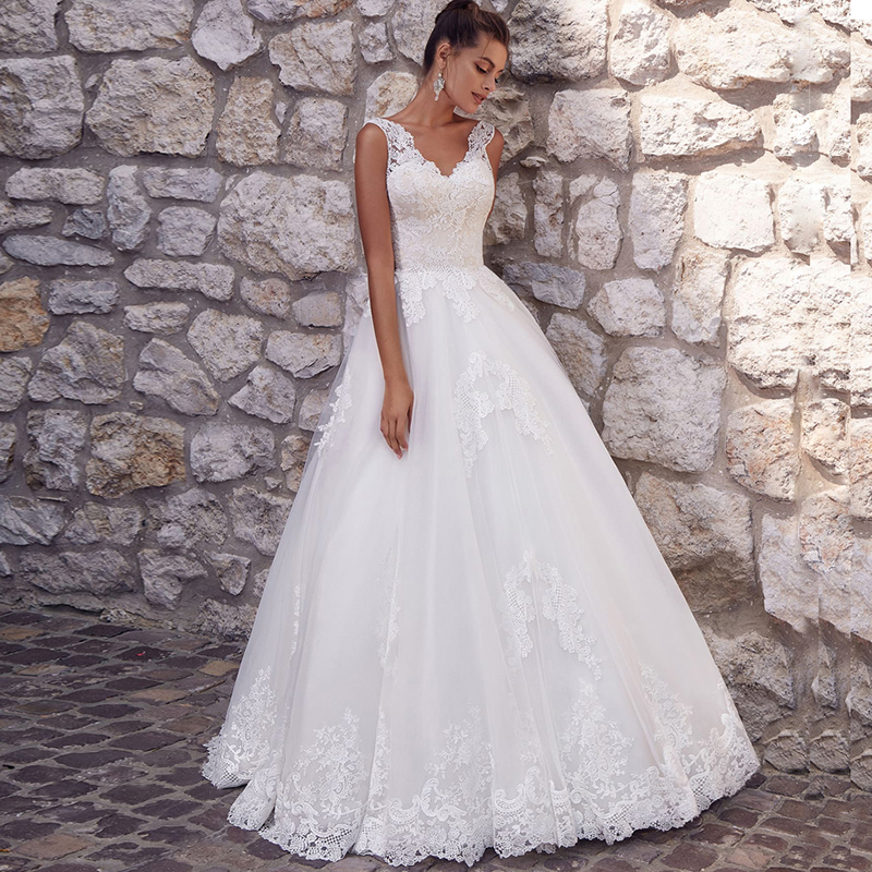 LORIE Princess Wedding Dress 2019 V Neck Wedding Bride Dress Sleeveless Appliques Elegant  Wedding Gowns Boho