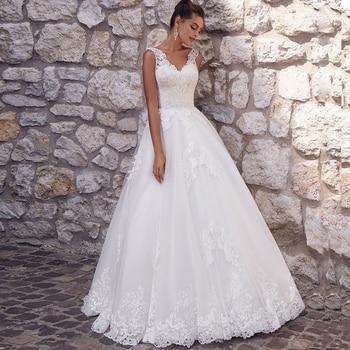 LORIE Princess Wedding Dress 2019 V Neck Bride Sleeveless Appliques Elegant  Gowns Boho