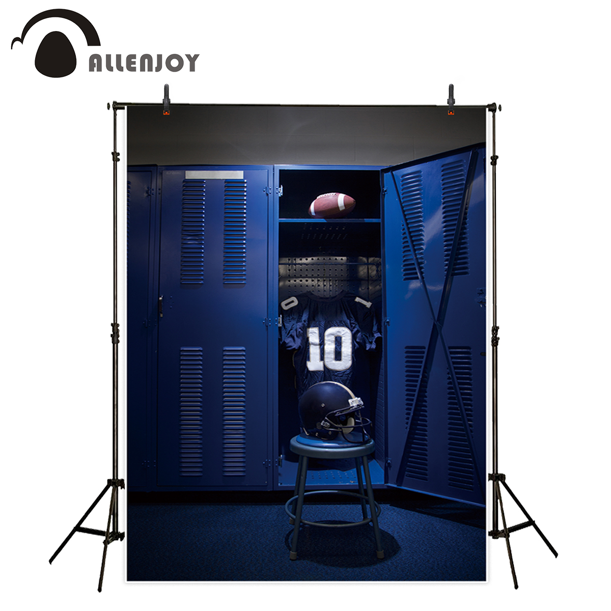 Allenjoy photography backdrop dark blue locker room sport rugby background photocall photobooth printed photobooth new
