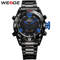 WEIDE Original Male Wristwatches Quartz LED Movement Analog Digital Date Alarm Display Stainless Steel Wholesale Brand Products