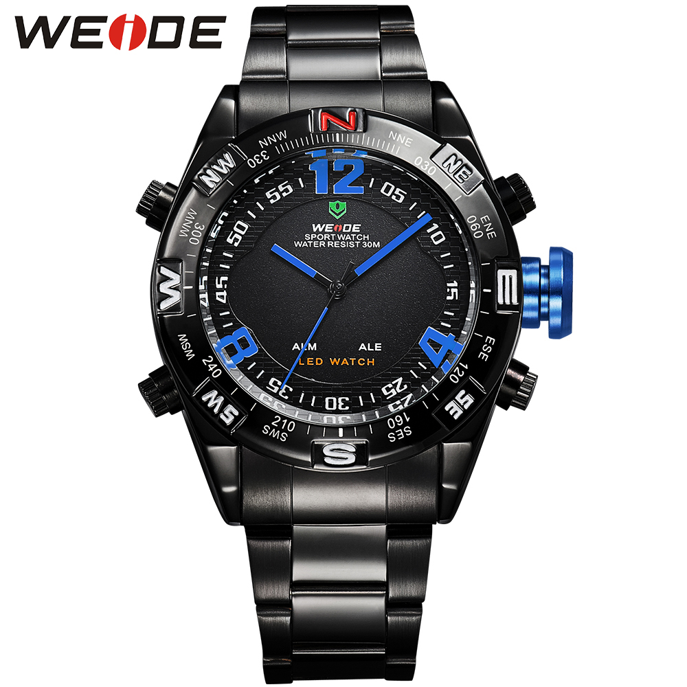 WEIDE Sport Watches For Men Wristwatches Quartz LED Analog Digital Clock Military Wristwatches Waterproof Relojes Montres homme weide brand watches business for men analog digital watches wristwatches 3atm water resistance steel clock black dial wh3403 page 7