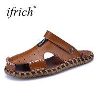 الأحذية في الربيع الصيف الرجال الصنادل صندل جلد أسود أبيض الرجال 2018 حذاء مسطح للذكور