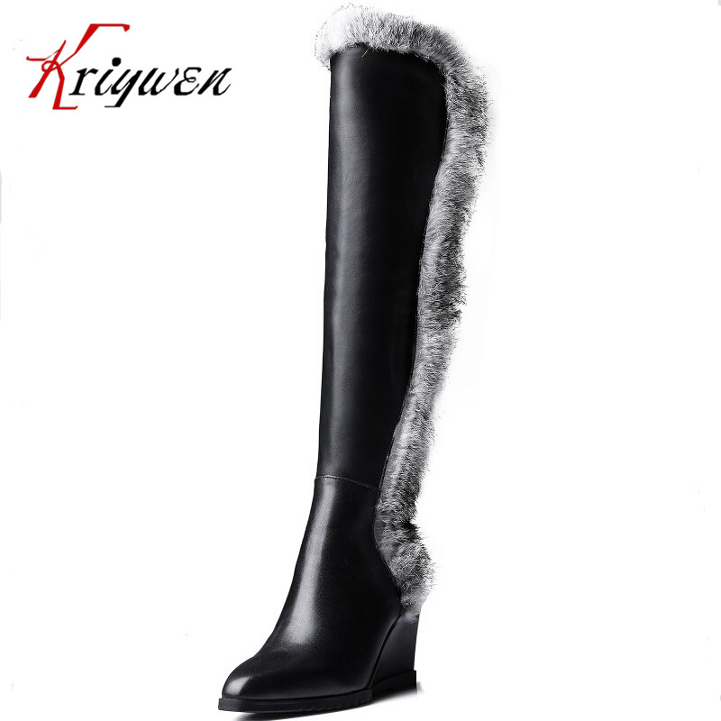 Full Grain Leather High boots Fur warming Knee-High Boots for women fashion winter knight boots wedges high heels platform sheos enmayer women boots shoes new pointed toe fashion knee high full grain leather winter long boots for women platform motorcycle