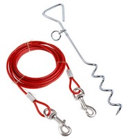 2017 Tie out Cable and Stake For Small Medium Dog Outdoor Yard Camping Heavy Duty Tie Out Lead Chain Cable Pet Runner Cable Rope