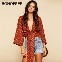 BOHOFREE 2018 Verano Polka Dot Blusas Arco Paso Abrir Stitch Cardigans Tops Streetwear Gasa Blusas Camisas Mujer