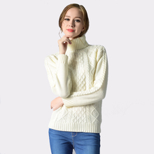2017 Winter Turtleneck Solid Women Sweater Twist Knitted Full Sleeve Warm Pullovers Feminino 6 Colors Tops Jumper Pull Femme
