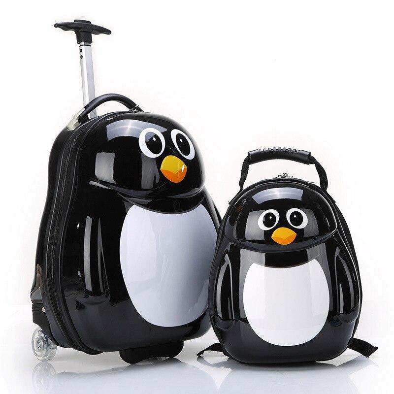 LeTrend lindo dibujos animados niños Juego de equipaje giratorio maleta ruedas estudiantes llevar en carro niños animal bolsa de viaje-in Maletas from Maletas y bolsas    3