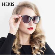HEKIS Ladies Sunglasses 2017 Luxury Classic Women Fashion Brand Designer Alloy Legs Points D1714