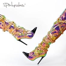 Rosa palms outono sapatos de inverno mulher sobre o joelho botas mulheres coxa saltos altos apontou toe deslizamento na moda sexy botas únicas