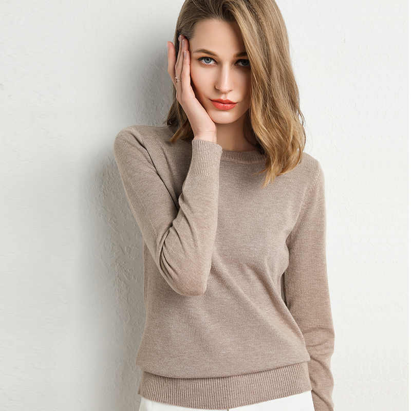 zocept Autumn Winter Sweater Women Casual Elegant Solid Pullovers Knitting O-Neck Basic New Jumpers Female Plus Size Knitwear