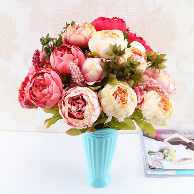 13 Branches Small fresh Artificial Silk Peony Bouquets Big Flowers ...