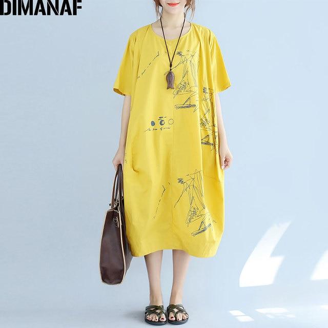 Dimanaf Plus Size Women Dress Summer Style Pattern Print Linen Dress