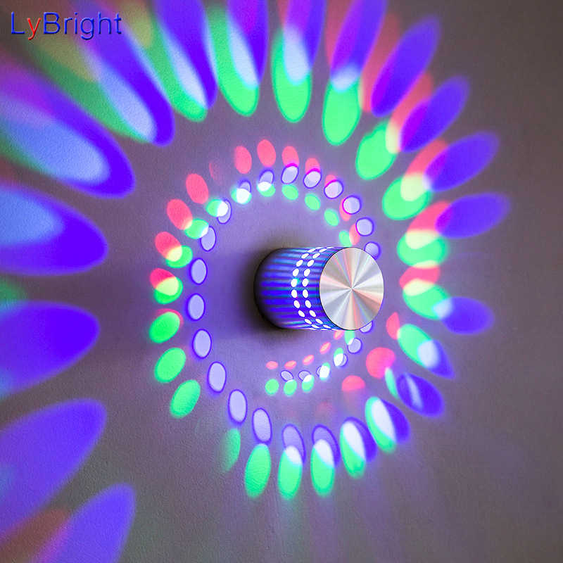 Modern High Power 3W LED Wall Lamp AC 90-260V Spiral Decoration Sconce Spot Wall Light For Living Room Bedroom Bedside Hallway