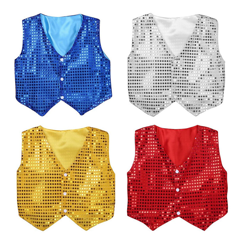 Home Tiaobug Kids Boys Shiny Sequin Long Sleeve Shirt Choir Jazz Dance Costume Child Stage Performance Hiphop Dance Top Rave Outfit