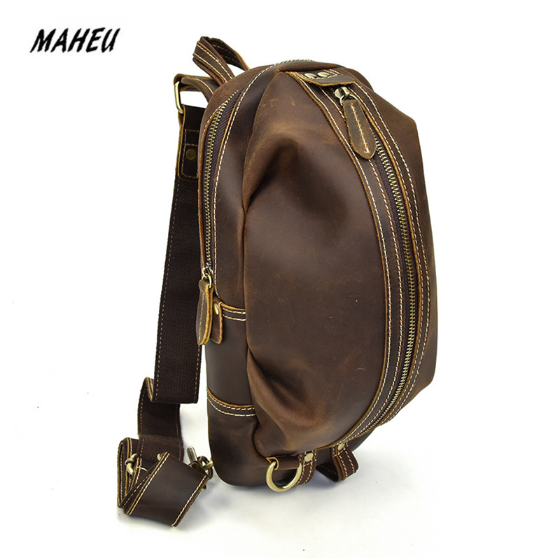 Fashion Men's Crazy Horse Leather Chest Bag Real Leather Functional Cow Leather iPad Mini Male Messenger Shoulder Crossbody Bags