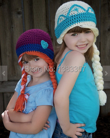 Custom Made Fashion Crochet Cute Elsa Anna Frozen Crochet Hats For