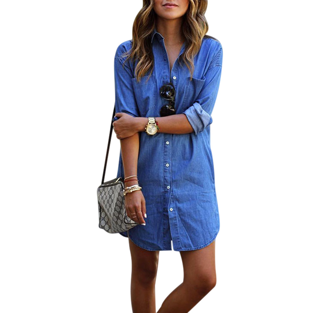 Newly Fashion Women <font><b>Sexy</b></font> Denim <font><b>Dresses</b></font> Solid Color Long Sleeve Turndown Pocket Summer Fall Lady Girls Loose Casual <font><b>Jeans</b></font> <font><b>Dress</b></font> V image