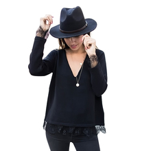 New Sweters Women Invierno Fashion Lace Stitching Long Sleeve Black Shirt V-neck Sueter Feminino Sweater