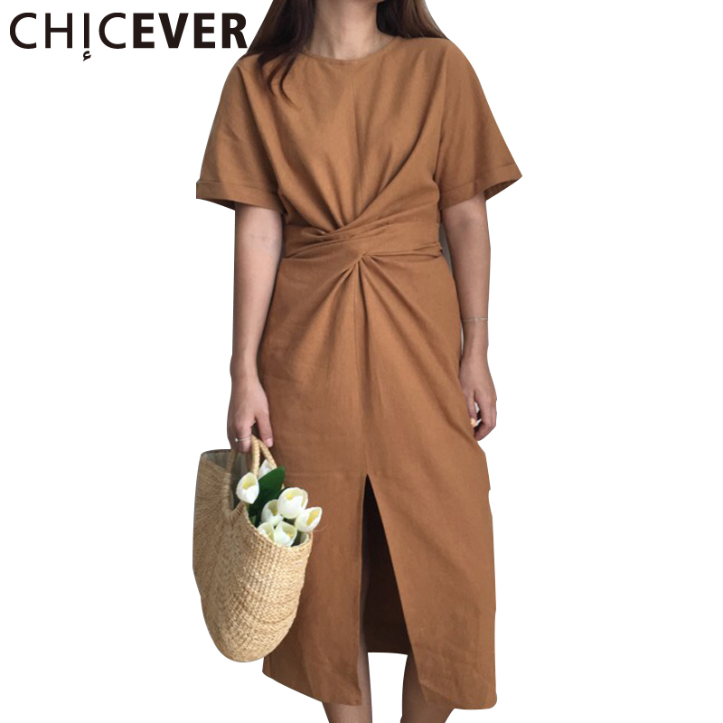 Chicever verano manga corta hem dividir o cuello largo dress las mujeres Túnica