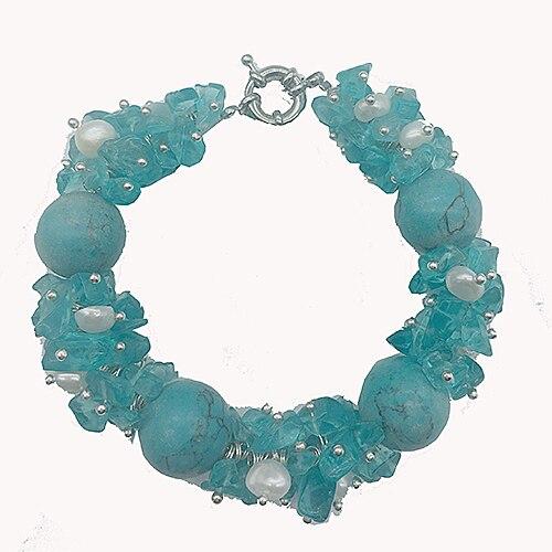 Chunky BigWhite perla Aqua azul piedra Natural para las mujeres declaración Bohemia perla joyas pulsera verano playa