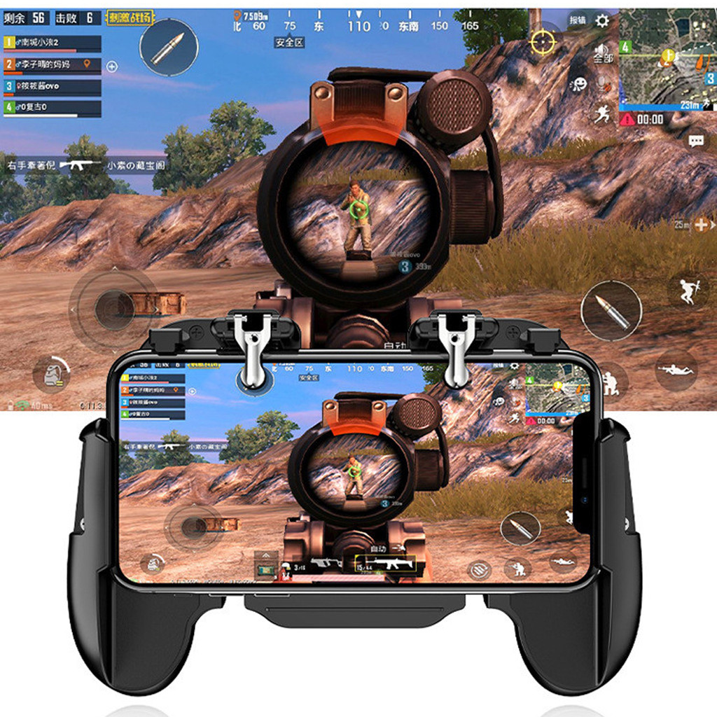 Mobile Game Controller,4-in-1 Power Bank Cooling Fan,Mobile Gaming Trigger for PUBG//Fortnite//Rules of Survival Gaming Joysticks,Android iOS Phone Game Shoot and Aim,Upgrade Mobile Game Controller