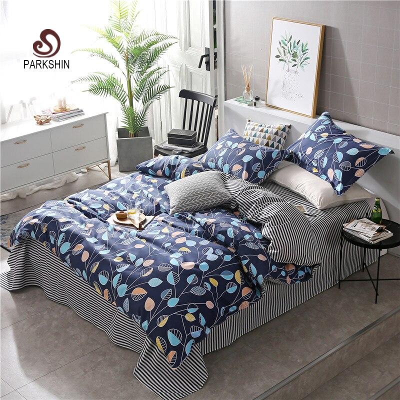 ParkShin Fashion Art Leaf Blue Elegant Bedding Set Comforter Duvet Cover Active Printing Set Bed Linen Bedclothes Multi Sizes